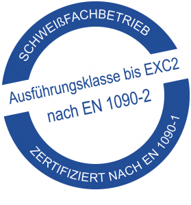Schweißfachbetrieb Zertifiziert nach EN 1090-1. Ausführungsklasse bis EXC2 nach EN 1090-2. Fachbetrieb nach WHG